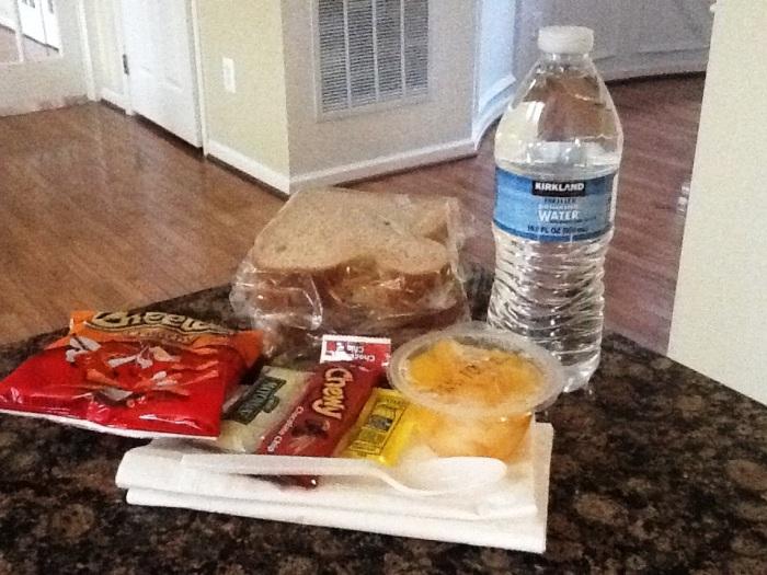 Viji's 12.12.12 lunch box and packet of ketchup and mayonnaise!