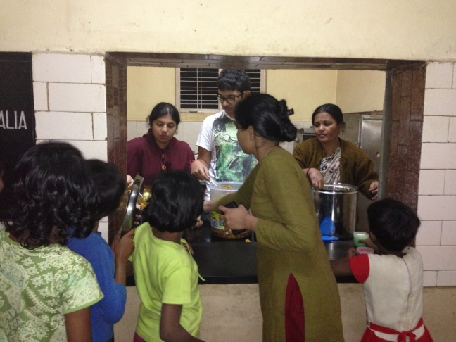 Lunch being served in the center of physically challenged girls in Bangalore