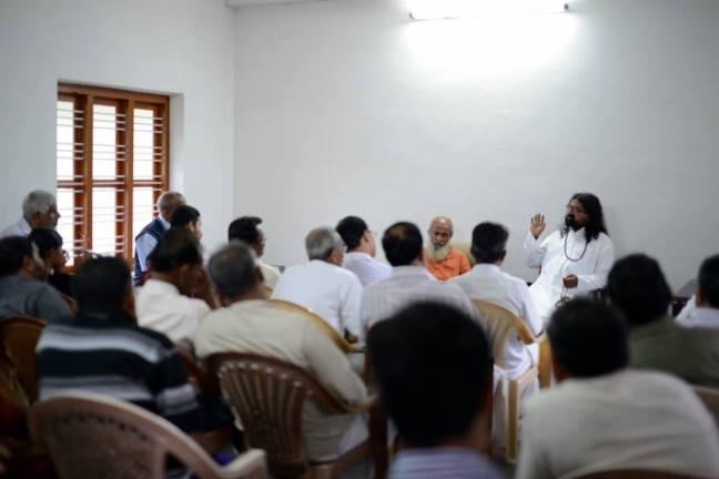 Addressing a spiritual gathering at Kalpetta