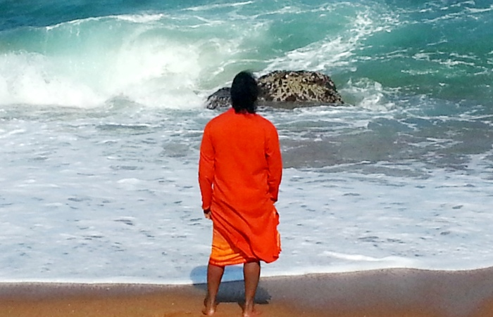 Mohanji on the beach of the Indian Ocean in Durban