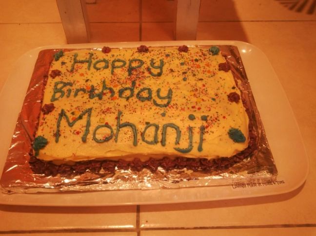 MohanJis second birthday cake, bakes by the two little babies of the Ashram, Arav and Shai