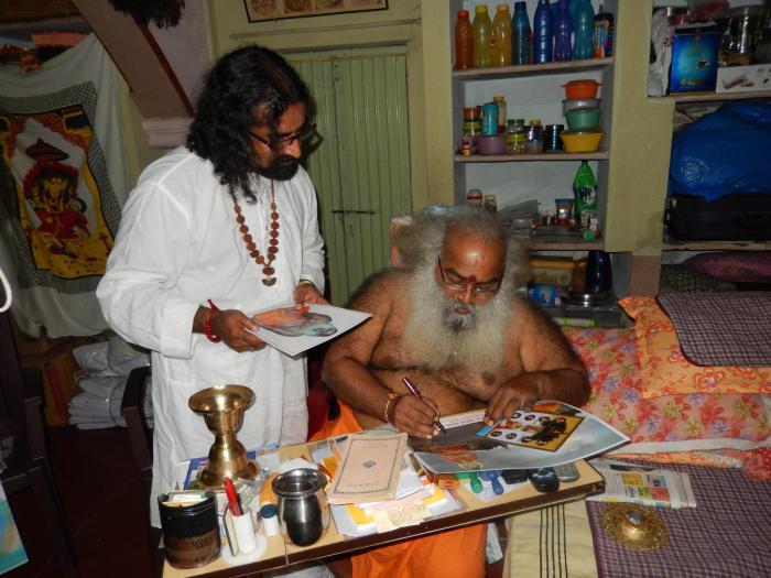Vitthal Babaji signing off precious mementoes