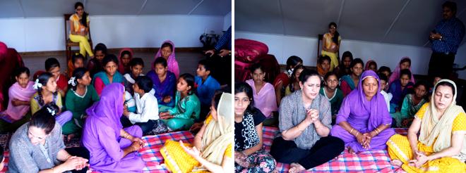 Children singing Bhajans