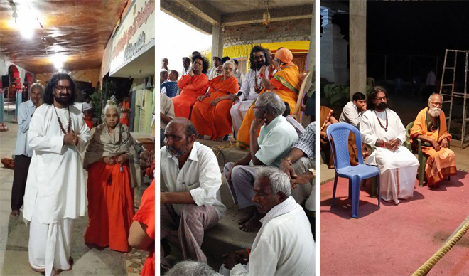 Mohanji with saints at Sri Datta Peetam, at ritual of putting Vittal Babajis into his Samadhi place