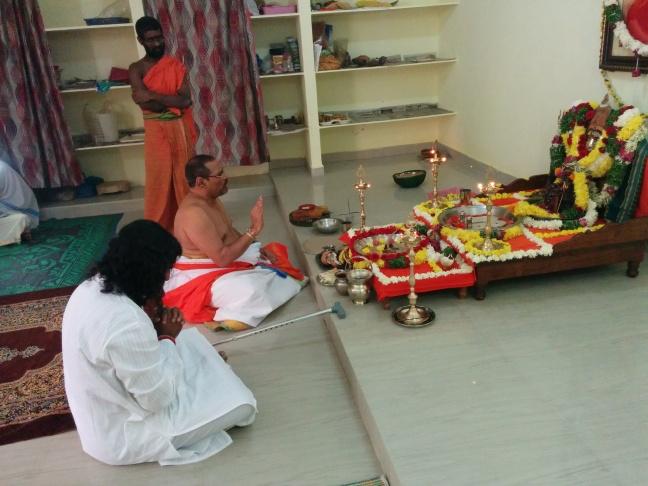 Swamy Thyagananda with Mohanji in deep prayer