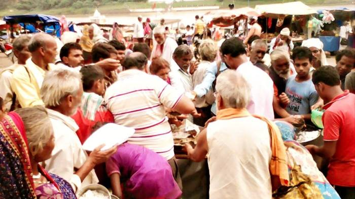 Ammucare - food seva at the river Narada, Guru Purnima 2015