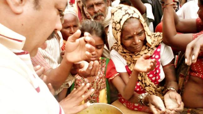 Ammucare - food seva at the river Narada, Guru Purnima