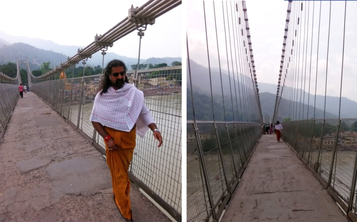 Crossing the bridge at Ram Jhula