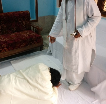 5-Meeting Guruji - Bowing down at the feet of Guruji