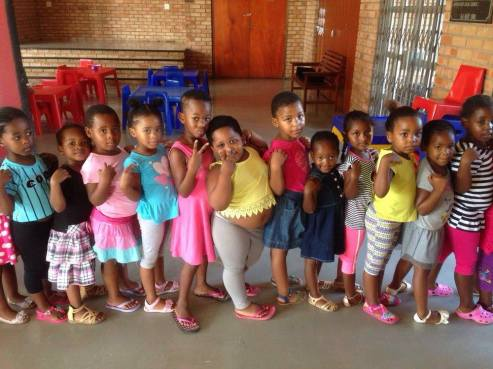 Babies at the creche. 140 babies will be fed everyday for a month