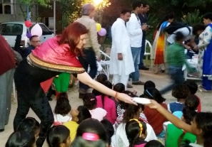 Cutting and distribtion of cake among the childrens