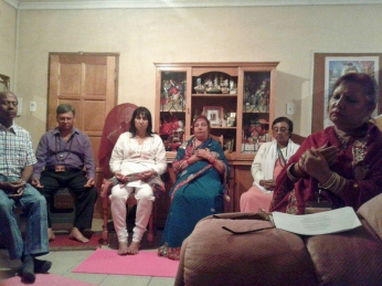 Ladysmith members experencing the Bliss of Silence meditation during Babas birthday celebration