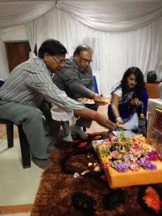 Members in Newcastle performing Padam Pooja to Mohanji — in South Africa