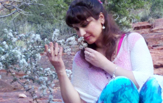 Pic 1 - Devi smelling the flowers, Boynton Canyon, Sedona Vortexes.jpg