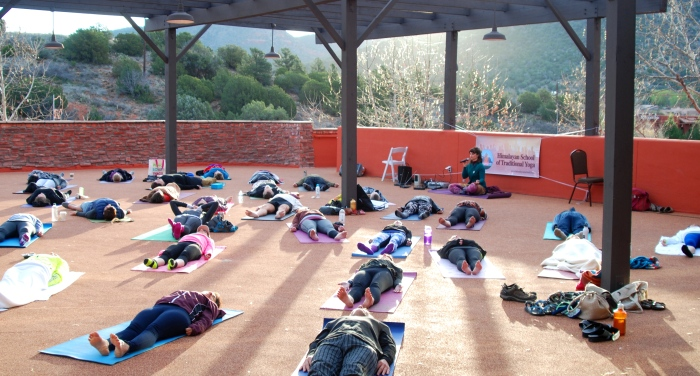 Pic 10 - Devi leading group into Yoga Nidra - bliss