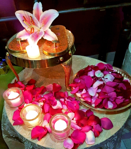 Rose petals offered to Babas Padukas at the Centurion Center