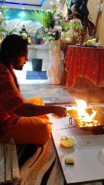 Swamiji conducting a Homa