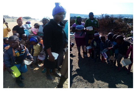 ACT South Africa feeding children at squatter camp