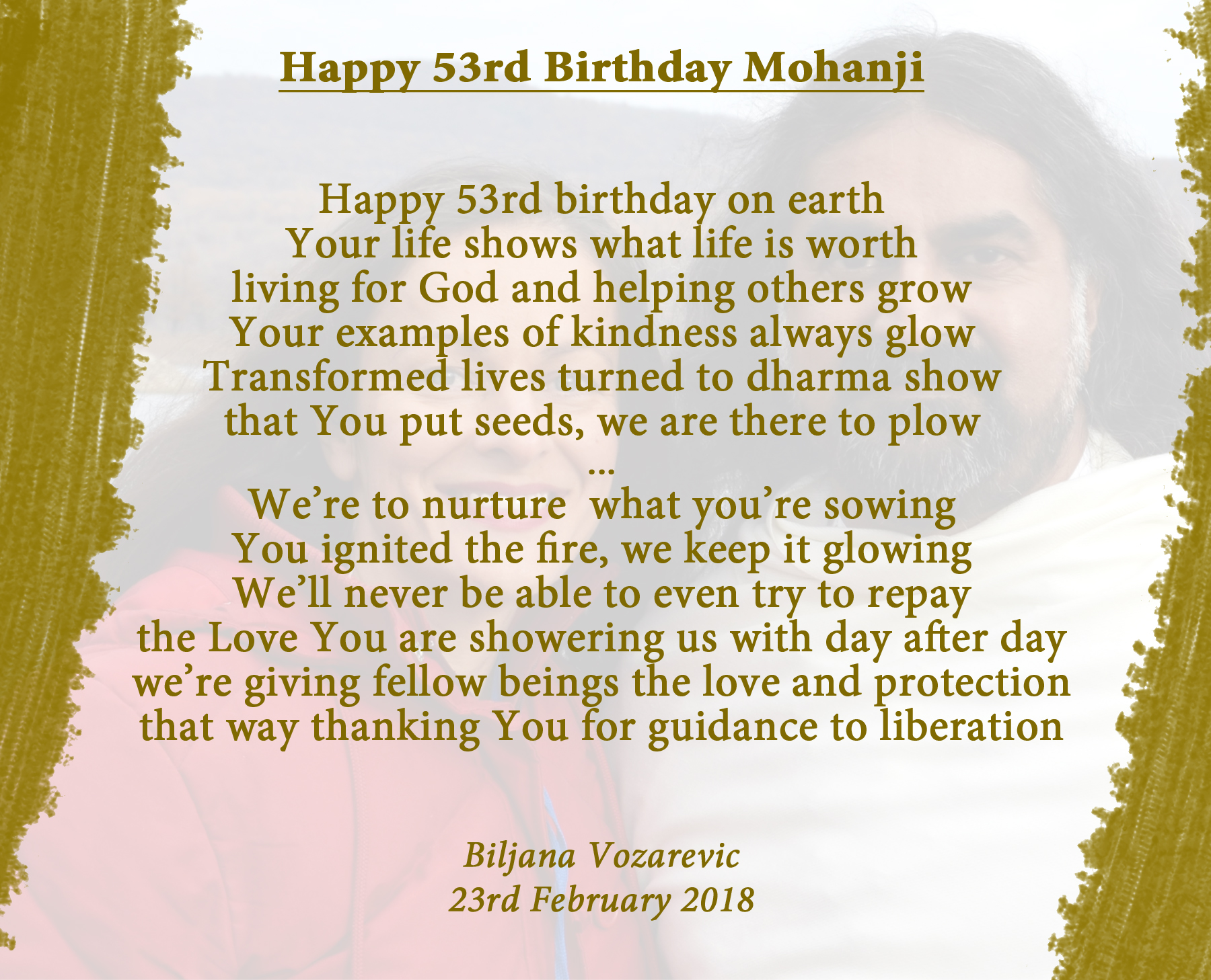 Happy birthday Mohanji - poem by Biljana Vozarevic