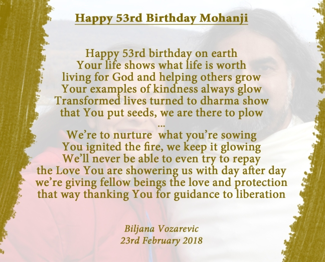 Happy birthday Mohanji - poem by Biljana Vozarevic