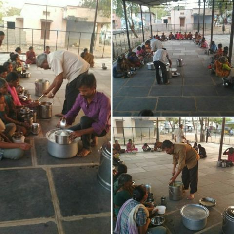 Kurnool,Food seva facilitated by Mohanji Team in Leprosy colony on His birthday