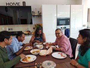 Enjoying breakfast with Mohanji